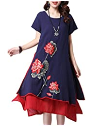 CDCLOTH Women's Summer Vintage Embroidery Cotton and Line Fake Two-piece Dress