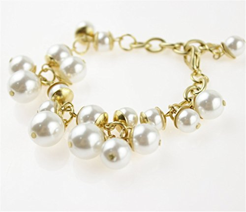P.phoebus 18K Yellow Gold Vintage Swarovski Crystal White Pearl Beads Rhinestones Dangle Charm Bracelet For Women Girls (11) 18k White Gold Bead