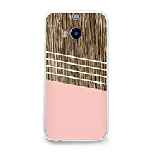 Hard Plastic Case for HTC One M8, CasesByLorraine Wood Print Coral Pink Geometric Striped PC Case Plastic Cover for HTC One M8 2014 (G02)