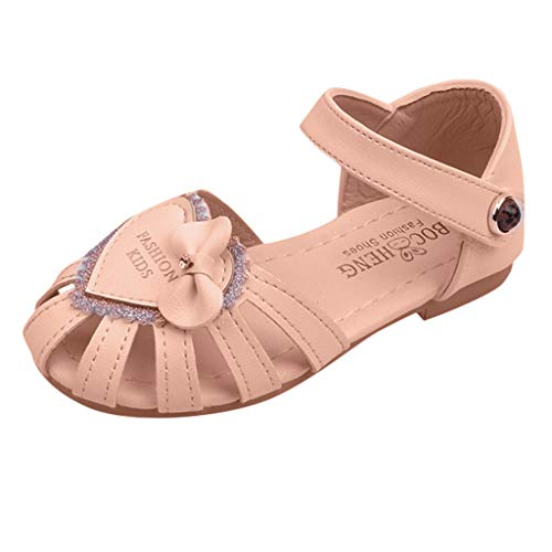 Tantisy ♣↭♣ Girls Bling Crystal Sandals/Sequins Princess Shoes/Sweet Outdoor Single Shoes for Toddler/Little Kid/Big Kid Pink