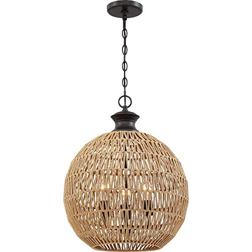 Quoizel QF4034PN Casablanca Natural Rope Paper Pendant Ceiling Lighting, 3-Light, 225 Watts, Palladian Bronze (23