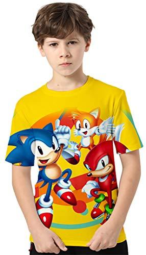 Silver Basic Meisjes Sonic the Hedgehog Kleding Kinderen Casual Tops Kindercadeaus Populaire films Korte mouw