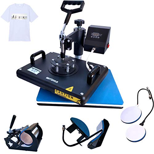 BetterSub Heat Press,5 in 1 Heat Press Machine,T-Shirt Heat Transfer Industrial-Quality Sublimation Machine,360 Degree Swivel 12x15 Print Press Machine for Mug Hat Plate Cap