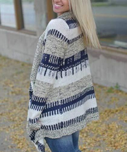 Bavero Delle Sovradimensionato Drappeggiato Rkbaoye Donne Blu Maglia Inverno Curve Outwear wxEddq0gU