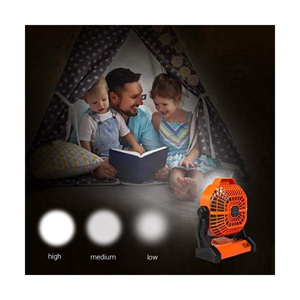 4175E aIQzL Camping Ventilator Lureshine Tischventilator mit Led Licht Batterie USB Ventilator Leise Turbo ventilator Campinglüfter…