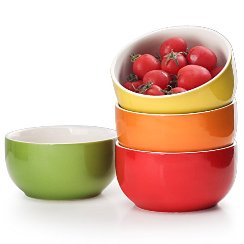 Lifver 20-Ounce Porcelain Soup/Cereal Bowl Set - 4 Packs, Assorted Colors Red Soup Cereal Bowl