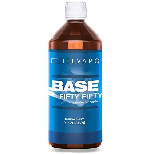 Elvapo BASE – Fifty Fifty | 1000ml / 1L | 50/50 (PG/VG) | Basisliquid für das Mischen von E-Liquids mit Aromen (für E…