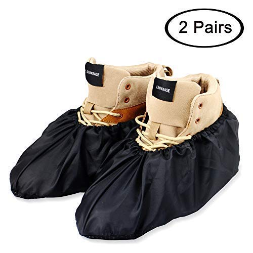LINKEASE Reusable Boot & Shoe Covers Water Resistant Non Skid and Washable for Real Estate Contractors to Keep Floors Carpets Footwear and Rooms Clean-Black (2 Pairs) ()