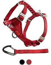 Kurgo Tru-Fit Crash Tested Dog Harness, Enhanced Strength Dog Vest, Dog Safety Harness with Pet Seat Belt Tether for Car, Small, Red