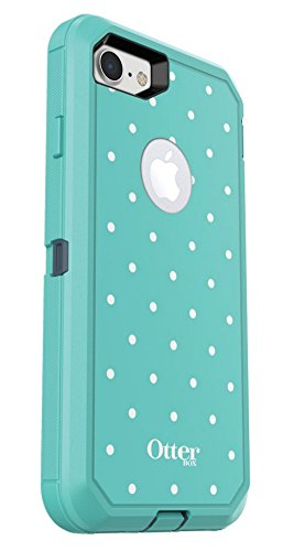 Rugged Protection OtterBox DEFENDER SERIES Case for iPhone 8 and iPhone 7 (NOT Plus) - Case Only - MINT DOT (TEMPEST BLUE/AQUA MINT/MINT DOT GRAPHIC) - Blue Dot Display