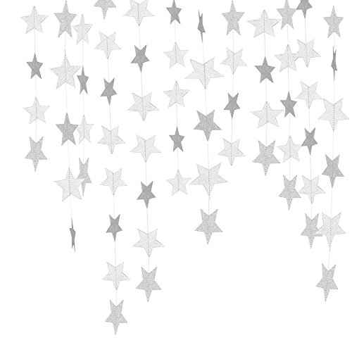 (Lacheln Star Party Decorations Birthday Baby Shower Christmas Hanging Paper Garland (Glitter Silver,26 Feet))
