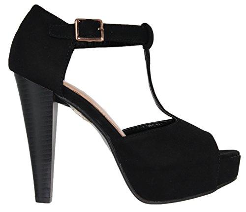 Women's toe Black nubuck 1 chunky Table Moda platform T peep strap buckle Top heel pumps wq6gtWXW