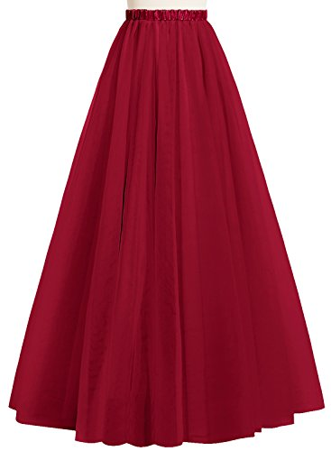 JudyBridal Women Long Tutu Tulle Skirt A Line Floor Length Skirts US16 (Floor Length A-line Skirt)