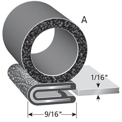 "3//8/"" Bulb Seal Diameter 25/' Length Fits 1//4/"" Edge PVC Plastic Trim with EPDM Rubber Bulb Seal Trim-Lok Trim Seal with Side Bulb"