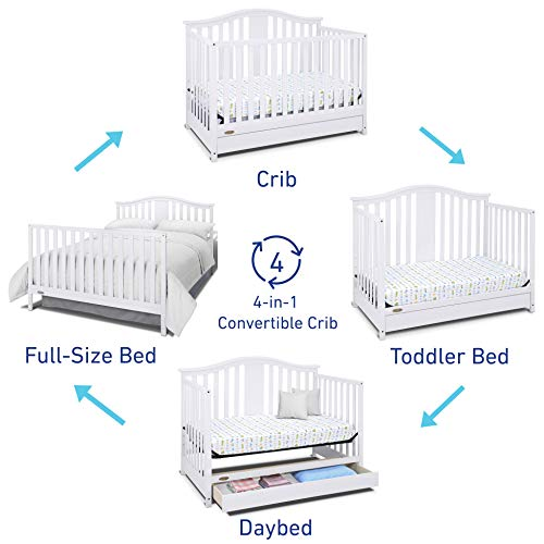 4175FGHrQhL - Graco Solano 4-in-1 Convertible Crib With Drawer, White, Easily Converts To Toddler Bed Day Bed Or Full Bed, Three Position Adjustable Height Mattress, Some Assembly Required (Mattress Not Included)