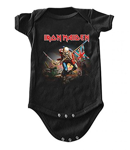 Iron Maiden The Trooper Baby Romper T-Shirt, Black, 0-6 Months - Iron Maiden Rock T-shirts