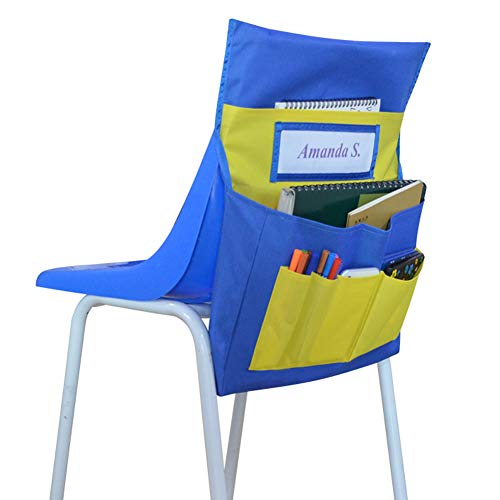 Eamay Chairback Buddy Pockets Chart, Kids School Supplies Chair Pocket, Classroom Seat Storage Organizer (Blue and Yellow) (Chart Chair)