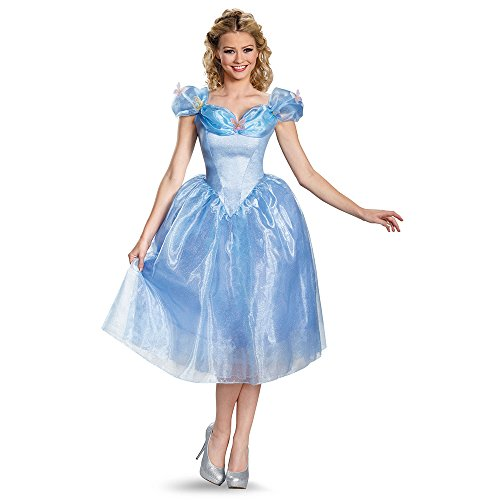 Disguise Women's Cinderella Movie Adult Deluxe Costume, Blue, Medium (Disney Princess Costumes Adults)