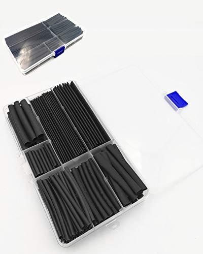 C&KTools 150PCS 2:1 Black Heat Shrink Tubing kit Eco-Friendly Material Cable Sleeve Tube with DIY Tools Box(8 Size)