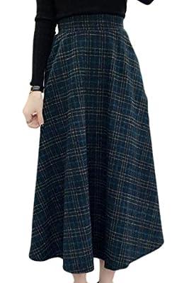 Cromoncent Women's A Line High Waist Plaid Classic Wool Blend Midi Skirt