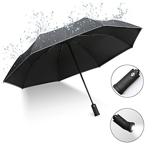 XIAO MO GU Fully-Automatic Black Folding Umbrella, Auto Open and Close Use 180° Rotating LED Lighting Umbrella Handle and Waterproof Coating, Compact Travel Umbrella for Car and Outdoor