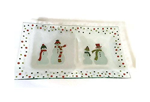 erving Platter Snowmen Divided Glass Christmas Tableware Dessert Plate Snowman Appetizer Plate Pampered Chef ()