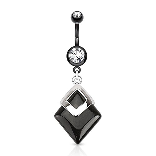 Covet Jewelry Black Agate Diamond Shaped Semi Precious Stone Mounted 316L Surgical Steel Navel Ring