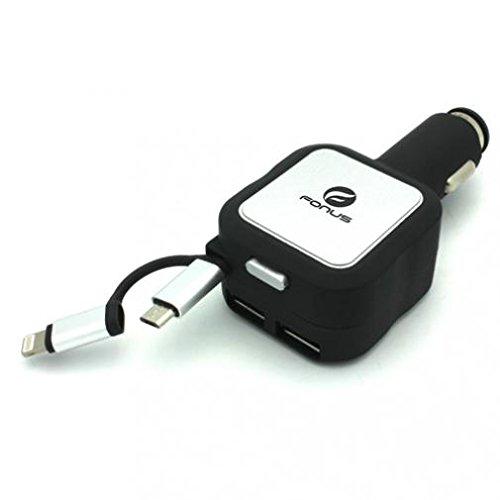 4.8 Amp Retractable車プラグイン急速DC充電器USB 2ポート2イン1プラグ電源アダプタブラックfor Sprint iPhone 8 – Sprint iPhone 8 Plus – Sprint iPhone sE – Sprint iPhone X B078YC9DMH
