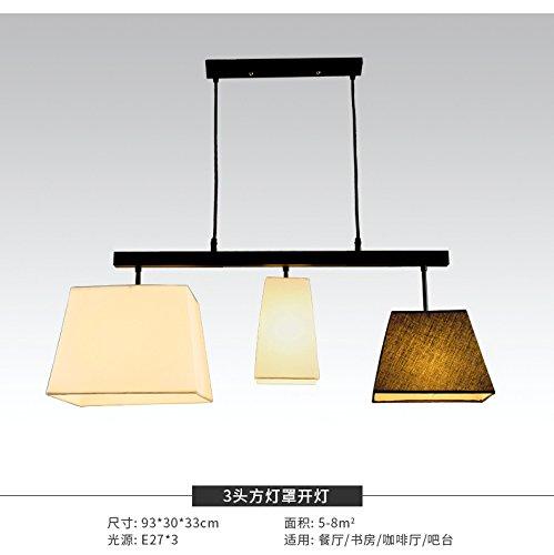 Iron 3 Head Square Cover Osradmd Restaurant Beleuchtung, amerikanische Landschaft, eine moderne, minimalistische Studie, Creative Bar, Esszimmer Lampe, Nordic Schlafzimmer Kronleuchter, einem Kopf B-runde