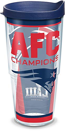 - Tervis 1324984 NFL New England Patriots AFC Champion Insulated Tumbler with Lid, 24 oz, Clear