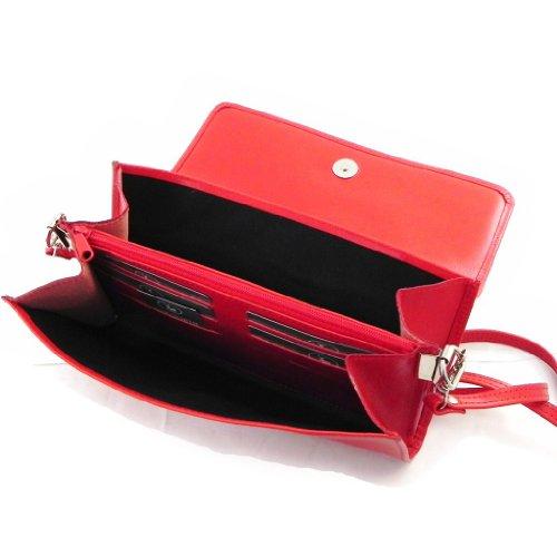 """Cuero bolsa de embrague """"Frandi"""" de color rojo dakota (2 fuelles)."""