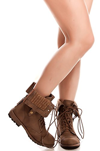 Elegante Veters Ritssluiting Opvouwbare Trim Casual Boots Taupe-star-8