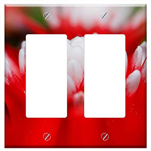 Switch Plate Double Rocker/GFCI - Bromeliad Vriesea Exotic Plant Red White Tropical