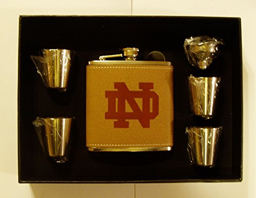 Notre Dame Leather Engraved 6 oz Stainless Steel Flask with 4 Stainless Steel Shot Glasses and Funnel In A Black Presentation Box by GFSF