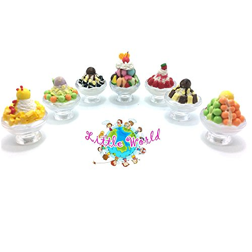 3 Mix Dollhouse Miniature foods:Ice Cream[ Mango, Strawberry, Cookie & Cream, Brownie, Mix fruits, Earthquake ], Little world Ice Cream Collectibles, The same size as barbie dollhouse. ()