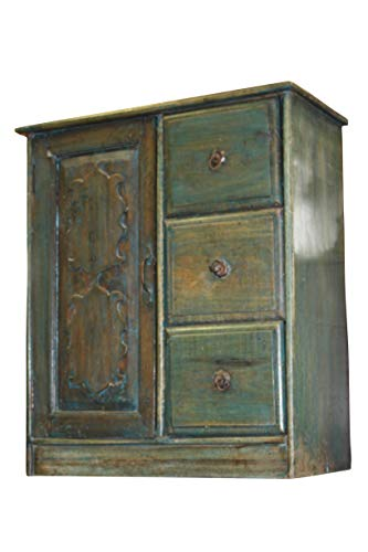 - Antique Distressed Blue Desert armoire, Chest, nightstand, Side Table with Drawers Farmhouse Cottage Boho Design
