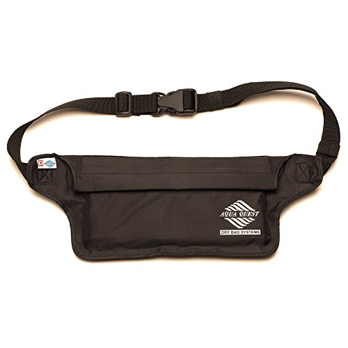Aqua Quest AquaRoo Money Belt - The World's Original 100% Waterproof Waist Pack, Since 1994 - Comfortable, Adjustable, Lightweight - Travel Pouch for Phone, Passport, Money - Black
