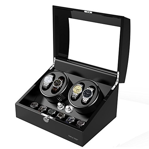 Newly Upgraded Watch Winder, for Automatic Watches, Wood Shell Piano Paint Exterior and Extremely Silent Motor, with Three Dimensional Watch Pillows, Suitable for Wrist from 28 to 50mm