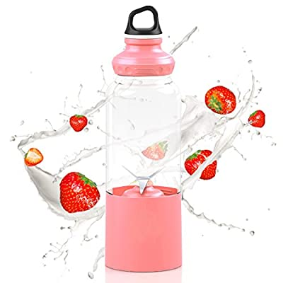 Portable Juicer Cup,USB Rechargeable Juice Blender&Mixer,Personal Size Fruit Juice Smoothie Maker Extractor with 4000mAh Power Bank and Hanging Buckle for Home,Office,Traveling,Outdoors,500ML