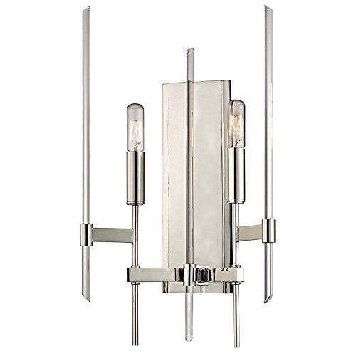 Hudson Valley Lighting Bari 2-Light Wall Sconce - Polished Nickel Finish with Clear Glass Shade