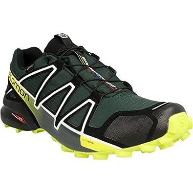 SALOMON Men's Speed Cross 4 Gore-Tex Trail Running Shoe, Darkest Spruce/Black/Acid Lime, 8.5 US