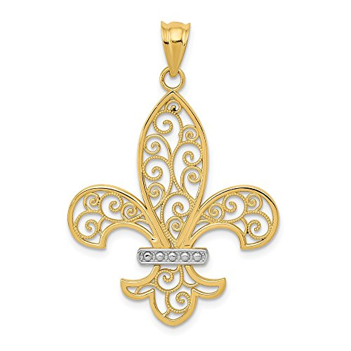 14k Yellow Gold Filigree Fleur De Lis Pendant Charm Necklace Fine Jewelry Gifts For Women For Her ()