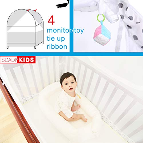 SDADI Baby Crib Safety Tent Pop Up Mosquito Net with Baby Monitor Hang Ribbon,Toddler Bed Canopy Netting Cover |Star WLCN01S by SDADI (Image #4)