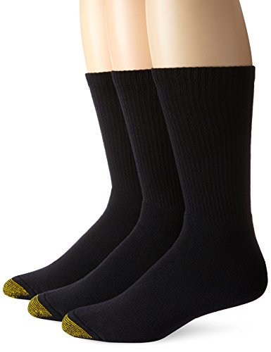 Gold Toe Men's Uptown Crew 3 Pack Socks, Black, Sock Size 10-13/Shoe Size 6-12.5 (Toe Socks Cotton Gold)