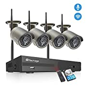Techage 4CH Wireless Security Camera System, 1080P HD WiFi Wireless Video Surveillance System, 4 Weatherproof IP Cameras Auto Pair WiFi H.265 NVR, Motion Alerts, Remote View (1TB Hard Drive)