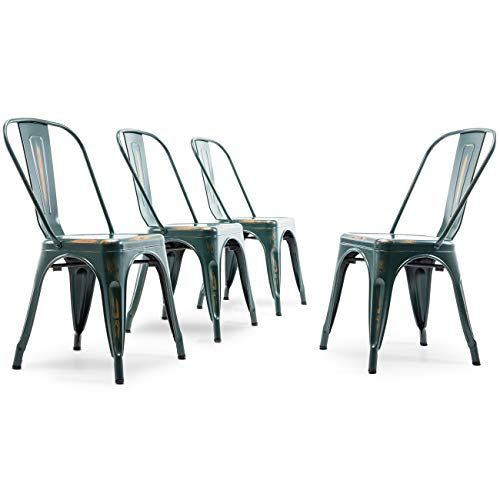 Dining 18 Inch Chair - Belleze Set of (4) Modern Dining Chair Heavy Duty Frame Stackable Chairs with High Backrest, Antique Blue
