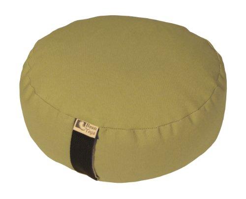 Crescent Camel - Bean Products CAMEL - Oval Zafu Meditation Cushion - Yoga - 10oz Cotton - Organic Buckwheat Fill - Made in USA