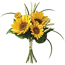 """Bride and groom Holding flowers,SUNFLOWER & FILLER BOUQUET 11"""" ,Artificial Silk Flowers Fake Rose,For Wedding,Party,Valentine's Day, Pack 1 (3# SUNFLOWER)"""