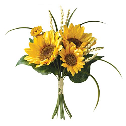 Bride and groom Holding flowers,SUNFLOWER & FILLER BOUQUET 11 ,Artificial Silk Flowers Fake Rose,For Wedding,Party,Valentines Day, Pack 1 (3# SUNFLOWER)