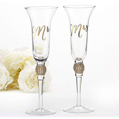 - ELEGANI Gold Rhinestone Mr. & Mrs. Toasting Flutes 2ct Wedding Reception Supplies